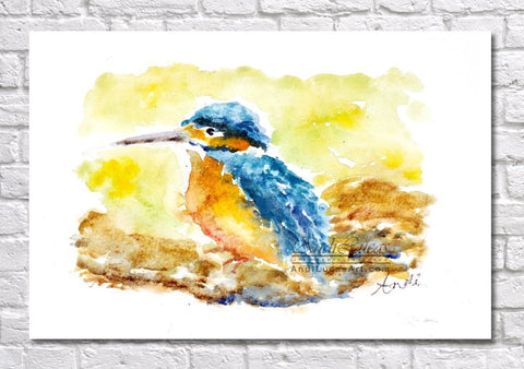 Kingfisher Watercolour Print, Andi Lucas Wildlife Art
