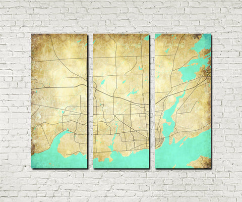Kingston Ontario City Street Map 3 Panel Canvas Wall Art 7190C3