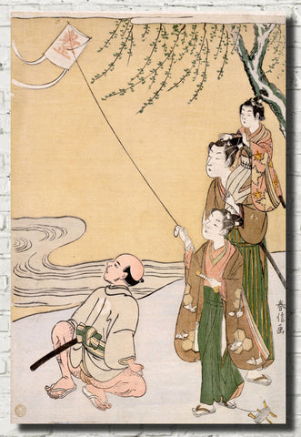 Suzuki Harunobu, Japanese Art Print : Kite Flying