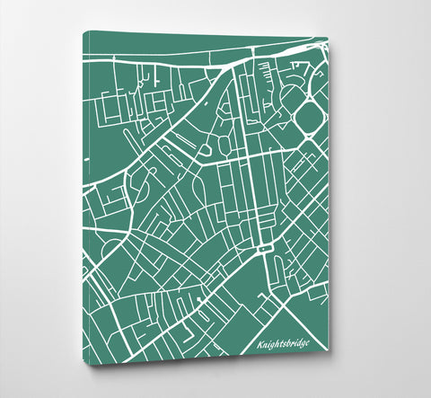 Knightsbridge London City Street Map Print Feature Wall Art Poster
