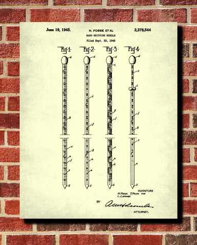 Knitting Needles Patent Print Sewing Room Poster Craft Blueprint - OnTrendAndFab