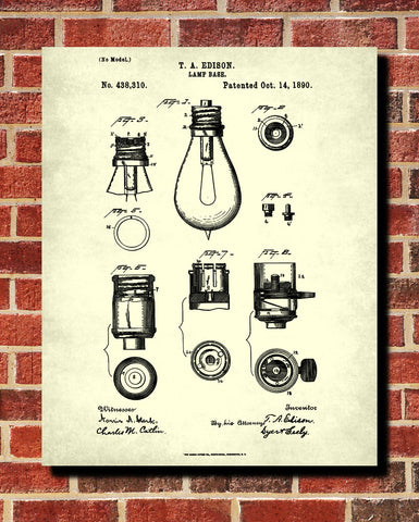 Light Bulb Blueprint Edison Invention Poster Electrical Patent Print - OnTrendAndFab
