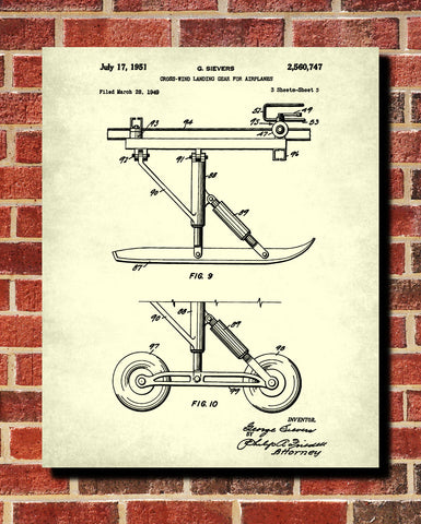 Landing Gear Patent Poster Aircraft Wall Art Flying Blueprint - OnTrendAndFab