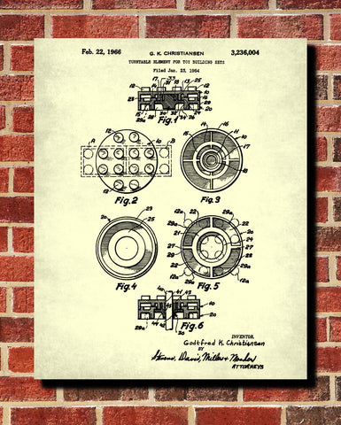 Lego Patent Print  Toy Room Poster Building Block Blueprint - OnTrendAndFab