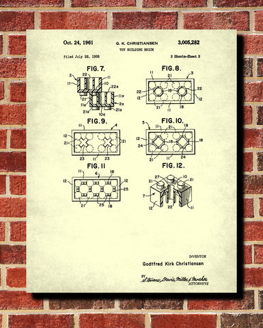 Lego Patent Print Toy Room Blueprint Building Brick Poster - OnTrendAndFab