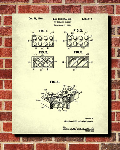 Lego Blueprint Play Room Poster Building Bricks Patent Print - OnTrendAndFab