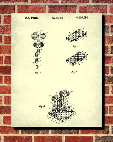 Lego Patent Print Building Blocks Blueprint Toy Room Poster - OnTrendAndFab