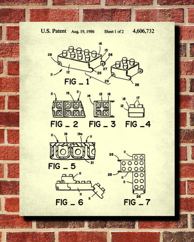 Lego Patent Print  Toy Room Poster Building Blocks Blueprint - OnTrendAndFab