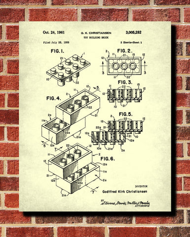 Lego Patent Print Toy Room Poster Building Bricks Blueprint - OnTrendAndFab
