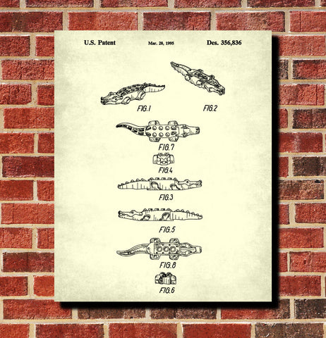 Lego Crocodile Patent Print Animal Building Blocks Poster