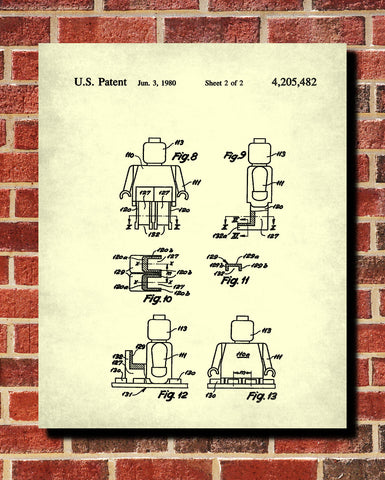 Lego Patent Print Building Brick Blueprint Toy Room Poster - OnTrendAndFab