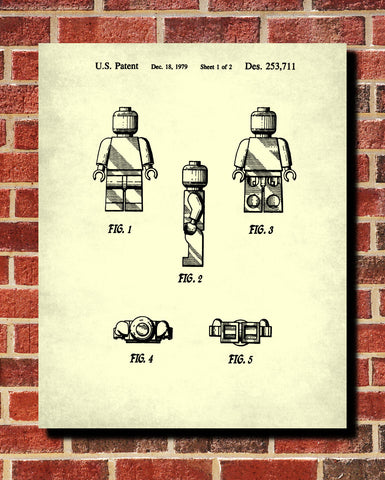 Lego Patent Print Toy Room Poster Building Brick Blueprint - OnTrendAndFab