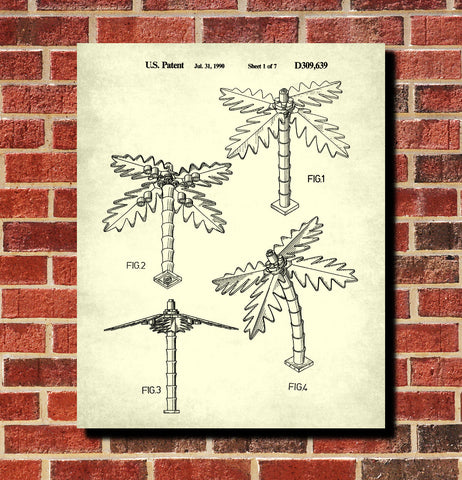 Lego Palm Tree Patent Print Scenery Building Block Poster