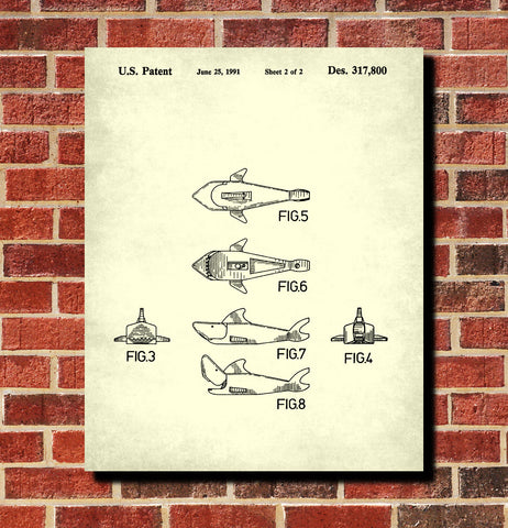 Lego Shark Patent Print Animal Building Blocks Poster