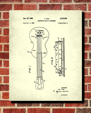 Les Paul Guitar Patent Print Musical Instrument Blueprint Music Poster - OnTrendAndFab
