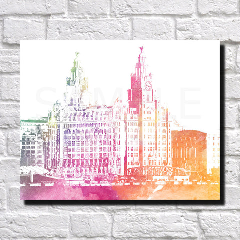 Liverpool City Skyline Print Landscape Poster Feature Wall Art