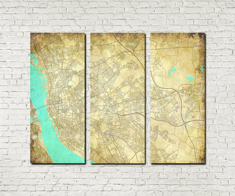 Liverpool Street Map 3 Panel Canvas Wall Map 7106C3