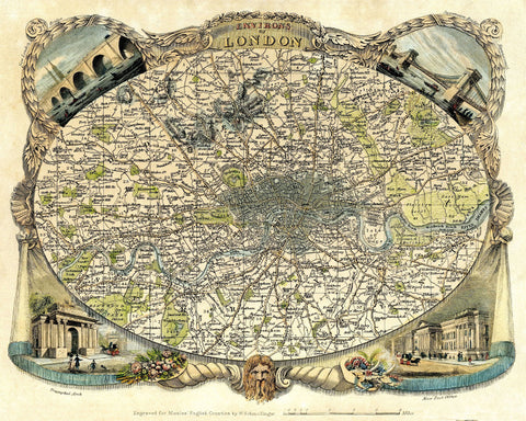 London City Street Map Print Vintage Poster Old Map as Art - OnTrendAndFab