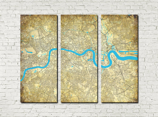 London Street Map 3 Panel Canvas Wall Map 7104BC3