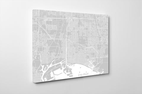 Long Beach City Street Map Print Feature Wall Art Poster