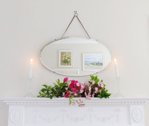 Vintage Feature Mirror Art Deco Frameless Bevel Edge