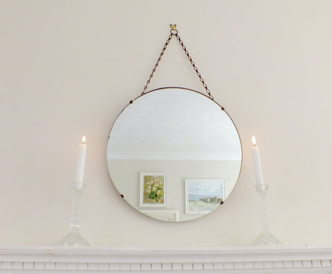 Vintage Feature Art Deco Frameless Round Mirror
