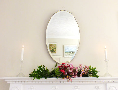 Vintage Feature Mirror Oval Art Deco Frameless