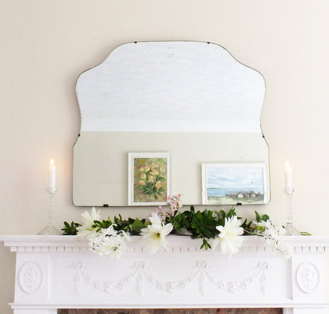 Antique Mirror Frameless Shaped Feature Extra Large Mirror