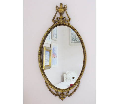 Antique Mirror Rococo Style Gold Gesso Frame Oval Feature Mirror