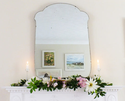 Antique Feature Mirror Extra Large Art Deco Frameless Shaped