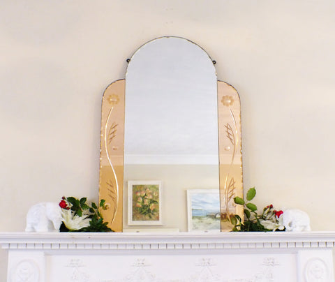 Large Art Deco Frameless Feature Coloured Shaped Mirror M181