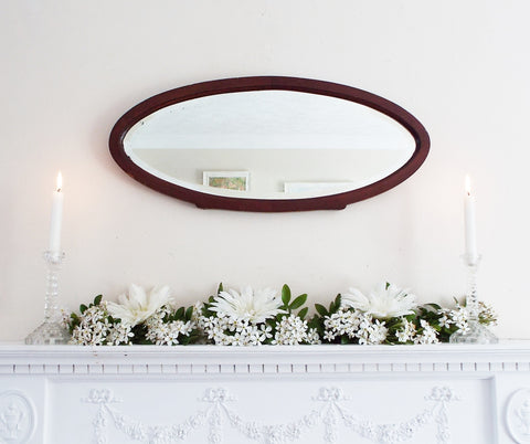 Antique Wooden Framed Oval Mirror