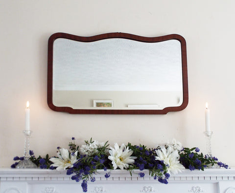 Antique Wall Mirror Curved Dark Wood Frame