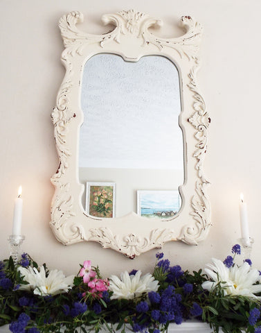 Vintage Feature Mirror Painted Wooden Frame