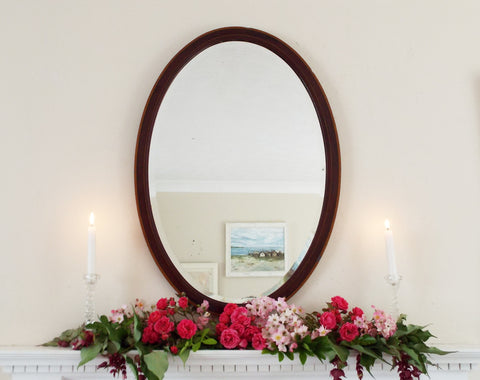 Antique Inlaid Mahogany Wood Framed Bevel Edge Mirror