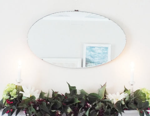 Vintage Art Deco Frameless Oval Mirror Bevelled Edge
