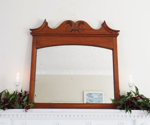 Antique Feature Overmantle Mirror Carved Satin Wood Frame