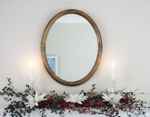 Art Deco Oval Antique Gold Framed Mirror M350 - OnTrendAndFab