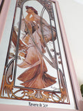 Pair of Antique Art Deco Framed Mucha Mirrors M351 - OnTrendAndFab