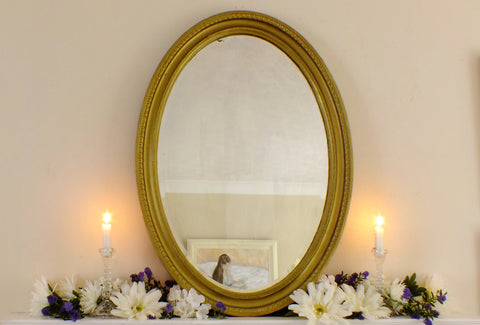 Victorian Gold Wood Framed Oval Mirror M375 - OnTrendAndFab