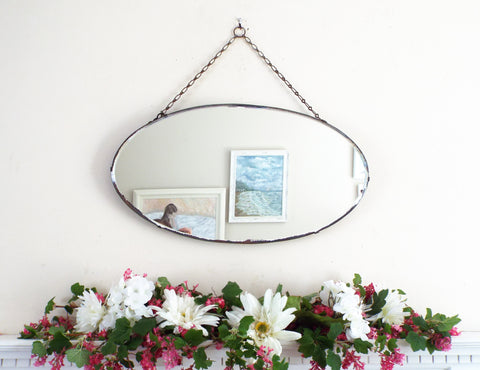 Vintage Feature Oval Mirror Art Deco Frameless M398 - OnTrendAndFab