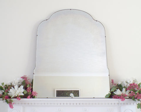 Antique Art Deco Mirror Frameless Shaped Feature Extra Large Mirror M422