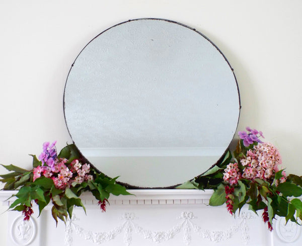 Large Round Vintage Art Deco Frameless Feature Mirror M427