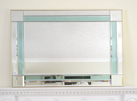 Extra Large Hollywood Regency Feature Teal Green Coloured Panel Mirror M432