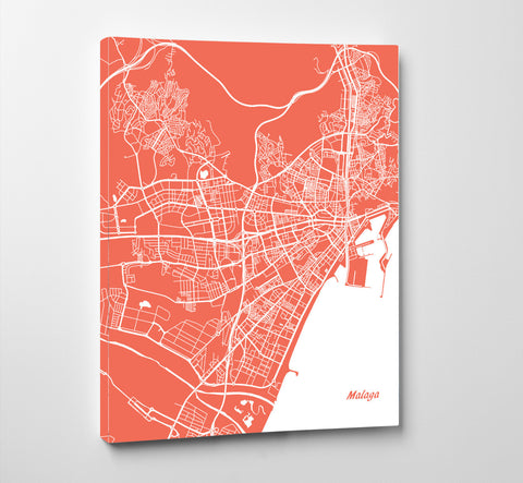 Malaga City Street Map Print Feature Wall Art Poster