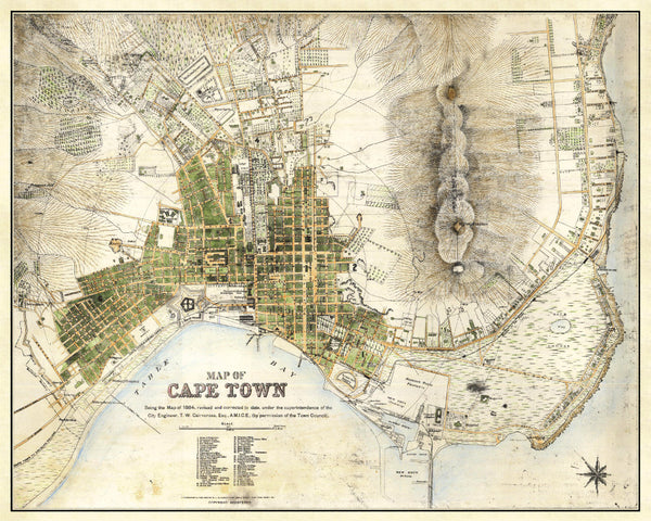 Cape Town Street Map Print Vintage South Africa Poster Old