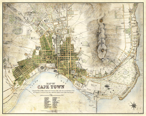 Cape Town Street Map Print Vintage South Africa Poster Old Map as Art - OnTrendAndFab