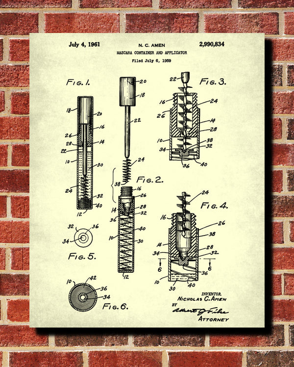 Mascara Patent Print Makeup Beauty Poster Salon Blueprint - OnTrendAndFab
