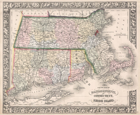Massachusetts State Map Print Vintage Poster Old Map as Art - OnTrendAndFab