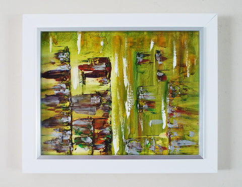 Abstract Landscape Painting Framed Original Art Mekong Market - OnTrendAndFab